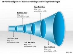 Timeline 3d Funnel Diagram For Business Planning And Development 5 Stages
