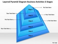 Timeline Layered Pyramid Diagram Business Activities 6 Stages