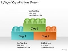 Timeline PowerPoint Template 3 Staged Lego Business Process