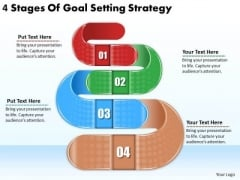 Timeline PowerPoint Template 4 Stages Of Goal Setting Strategy