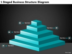 Timeline PowerPoint Template 5 Staged Business Structure Diagram