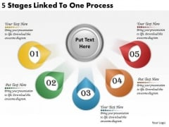 Timeline PowerPoint Template 5 Stages Linked To One Process