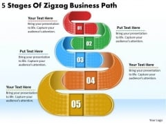 Timeline PowerPoint Template 5 Stages Of Zigzag Business Path