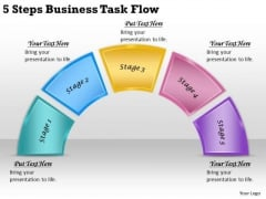Timeline PowerPoint Template 5 Steps Business Task Flow