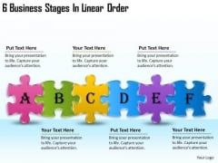 Timeline PowerPoint Template 6 Business Stages In Linear Order