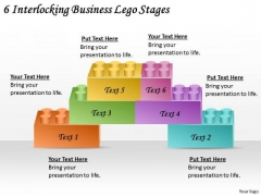 Timeline PowerPoint Template 6 Interlocking Business Lego Stages