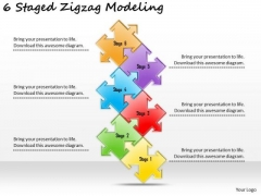 Timeline PowerPoint Template 6 Staged Zigzag Modeling