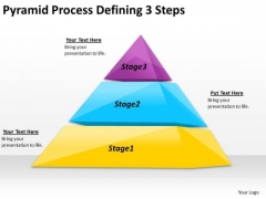 Timeline PowerPoint Template Pyramid Process Defining 3 Steps