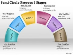 Timeline PowerPoint Template Semi Circle Process 6 Stages