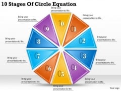 Timeline Ppt Template 10 Stages Of Circle Equation