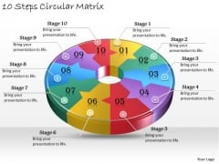 Timeline Ppt Template 10 Steps Circular Matrix
