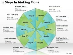 Timeline Ppt Template 10 Steps In Making Plans