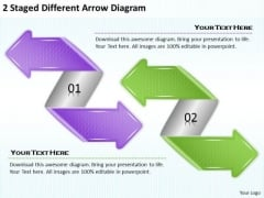 Timeline Ppt Template 2 Staged Different Arrow Diagram
