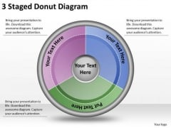Timeline Ppt Template 3 Staged Donut Diagram
