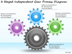 Timeline Ppt Template 3 Staged Independent Gear Process Diagram