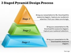 Timeline Ppt Template 3 Staged Pyramid Design Process