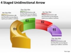 Timeline Ppt Template 4 Staged Unidirectional Arrow