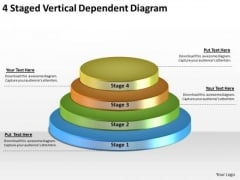 Timeline Ppt Template 4 Staged Vertical Dependent Diagram