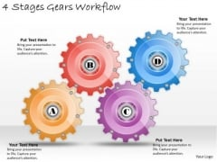 Timeline Ppt Template 4 Stages Gears Workflow
