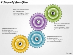 Timeline Ppt Template 4 Stages Of Gears Flow