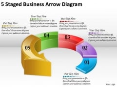 Timeline Ppt Template 5 Staged Business Arrow Diagram