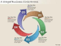 Timeline Ppt Template 5 Staged Business Circle Arrows