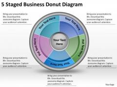 Timeline Ppt Template 5 Staged Business Donut Diagram