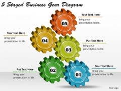 Timeline Ppt Template 5 Staged Business Gear Diagram