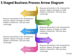 Timeline Ppt Template 5 Staged Business Process Arrow Diagram