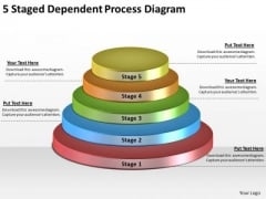 Timeline Ppt Template 5 Staged Dependent Process Diagram