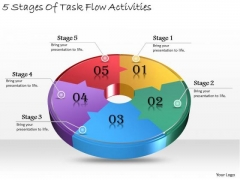 Timeline Ppt Template 5 Stages Of Task Flow Activities