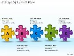 Timeline Ppt Template 5 Steps Of Logical Flow