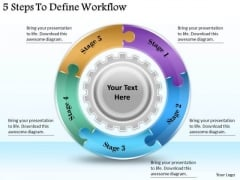 Timeline Ppt Template 5 Steps To Define Workflow