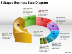 Timeline Ppt Template 8 Staged Business Step Diagram