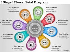 Timeline Ppt Template 8 Staged Flower Petal Diagram