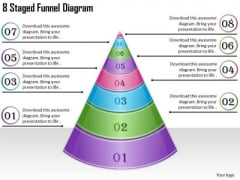 Timeline Ppt Template 8 Staged Funnel Diagram