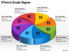 Timeline Ppt Template 9 Parts In Circular Diagram