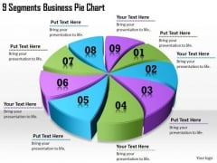 Timeline Ppt Template 9 Segments Business Pie Chart