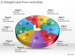 Timeline Ppt Template 9 Staged Cash Flow Activities
