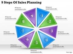 Timeline Ppt Template 9 Steps Of Sales Planning