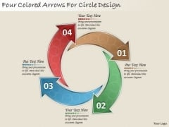 Timeline Ppt Template Four Colored Arrows For Circle Design