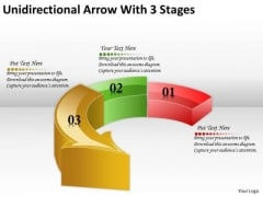 Timeline Ppt Template Unidirectional Arrow With 3 Stages