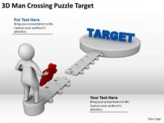 Top Business People 3d Man Crossing Puzzle Target PowerPoint Templates
