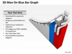 Top Business People 3d Man On Blue Bar Graph PowerPoint Slides