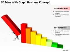 Top Business People 3d Man With Graph PowerPoint Theme Concept Templates