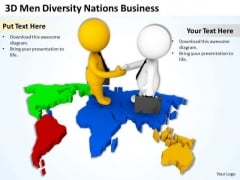 Top Business People 3d Men Diversity Nations PowerPoint Theme Templates