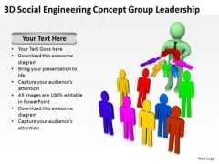 Top Business People 3d Social Engineering Concept Group Leadership PowerPoint Templates