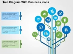 Tree Diagram With Business Icons PowerPoint Templates