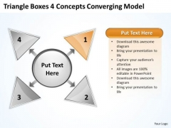 Triangle Boxes 4 Concepts Converging Model Arrow Circular Flow Network PowerPoint Templates