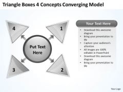 Triangle Boxes 4 Concepts Converging Model Circular Flow Network PowerPoint Templates